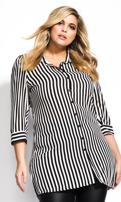Plus Size Stripe Love Tunic - black