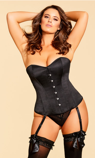 Plus Size Stella Satin Corset - Black