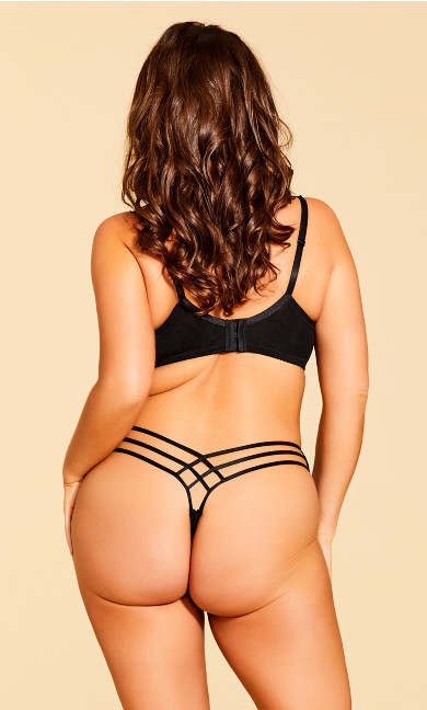 Eve Microfiber Strappy Thong - black