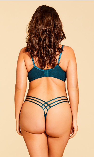 Eve Microfiber Strappy Thong - emerald