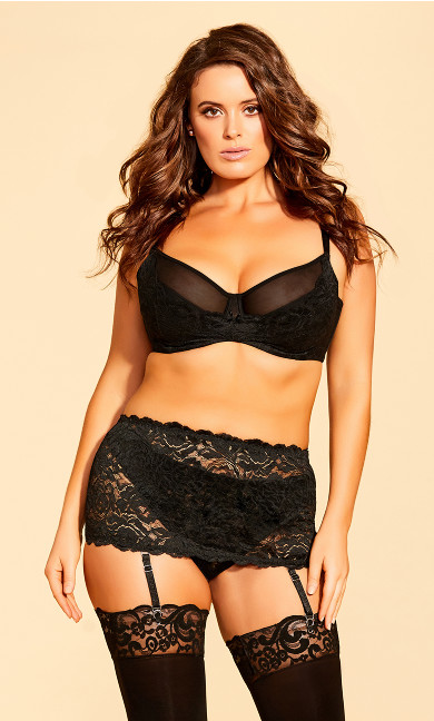 Plus Size Duet Garter Belt - Black