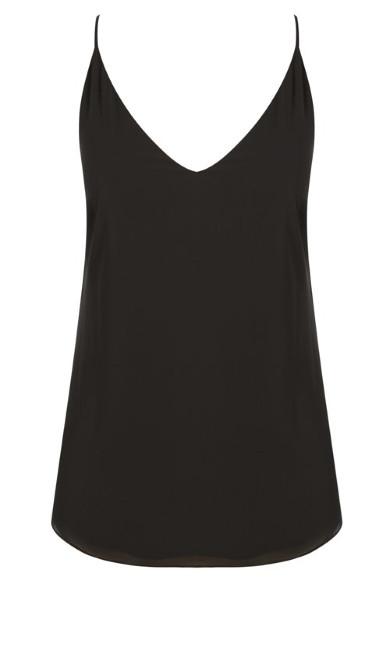 Black Simple Double Layer Chiffon Camisole