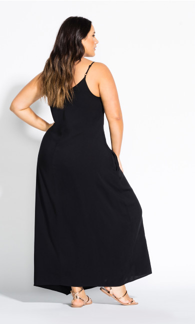 V Neck Maxi Dress - black