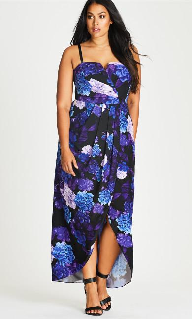 Strapless Faux Wrap Hydrangea Print Maxi Dress
