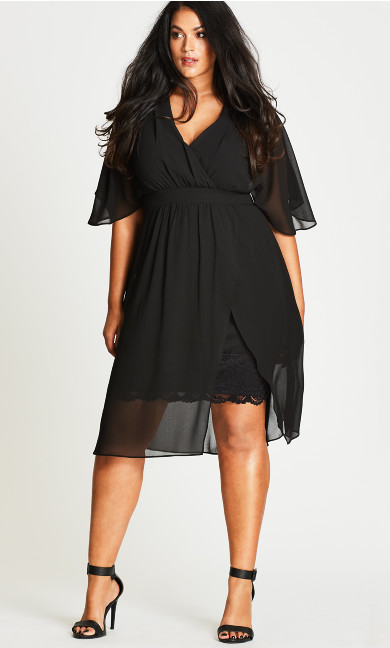 Love Affair Chiffon Overlay Dress - black