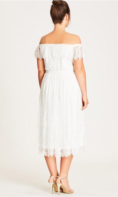 Vine Detail Off-Shoulder Dress - Ivory