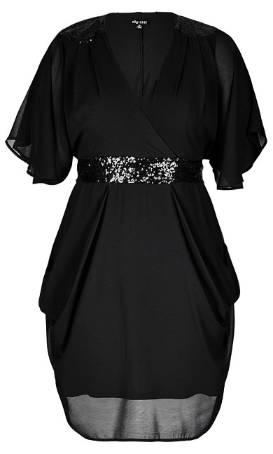 Sequin Wrap Dress - black
