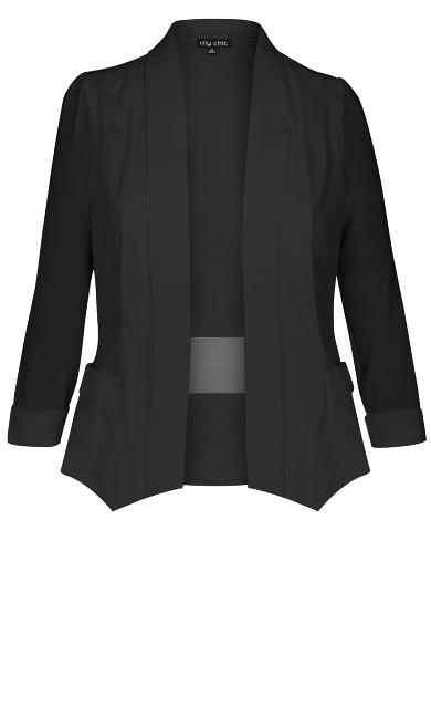 Drapey Blazer Jacket - black