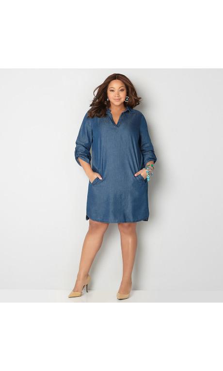 Plus Size Collared True Blue Denim Shirt Dress-Plus Size Dress-Avenue