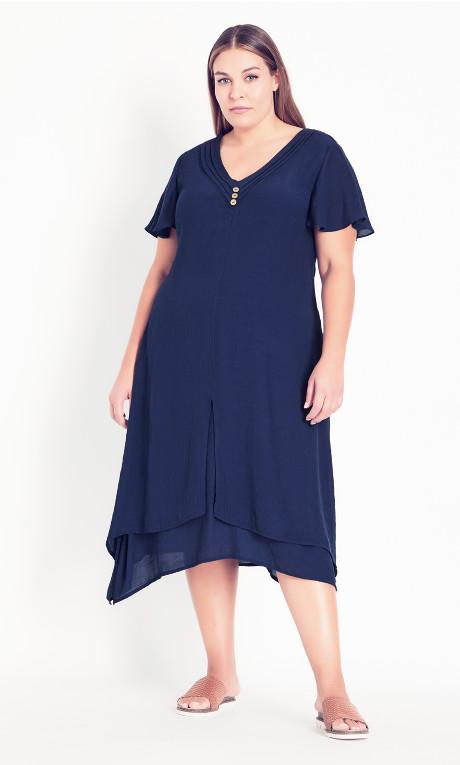 Pleat Neck Midi Dress - navy
