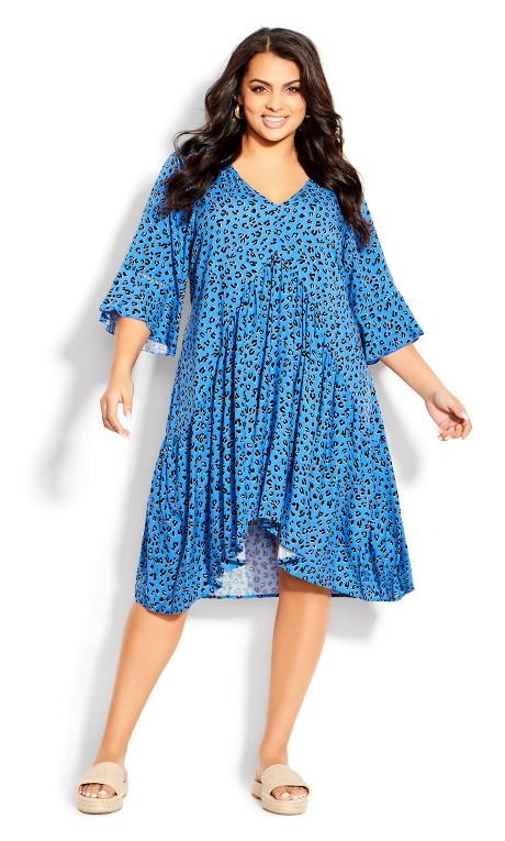 Valencia Mini Dress - blue animal