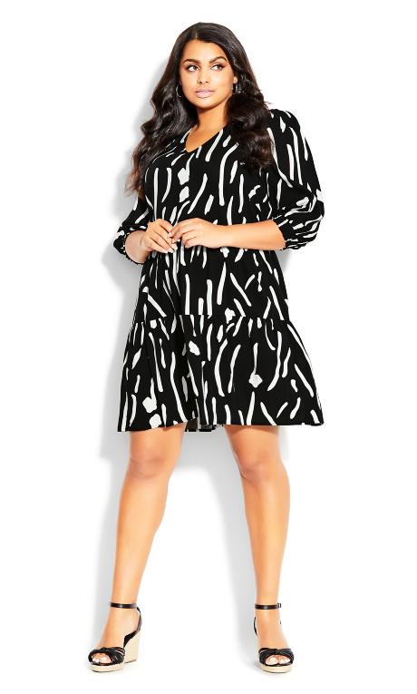 To The Max Mini Dress - black print