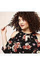 Floral Cold Shoulder A-Line Dress