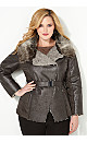 Faux Suede Coat with Quilting