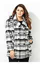 Oversized Plaid Double-Breasted Peacoat with Hood