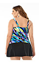 Brushstroke Shirred Swim Top with Tummy Control