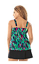 Tiered Feather Print Swim Top