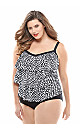 Abstract Tiered One-Piece Swimsuit with Tummy Control