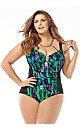 Feathered Metal Accent One-Piece Swimsuit with Tummy Control