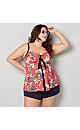 Tropical Floral Flyaway Tankini Top with Tummy Control