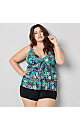 Turquoise Floral Three Tier Swim Top With Tummy Control