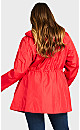 Plus Size Floral Lined Anorak - red