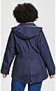 Plus Size Stripe Detail Anorak - blue stripe