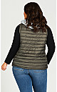 Plus Size Quilted Vest With Removable Hood - olive