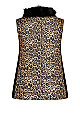 Plus Size Animal Print Puffer Vest With Removable Faux Fur Collar - animal