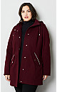Plus Size Hooded Stadium Jacket with Lace-Up Side Details - wine