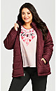 Plus Size Reversible Fleece Quilt Jacket - wine