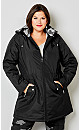 Plus Size Classic Quilted Field Jacket - black