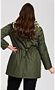 Plus Size Camo Fur Anorak - olive