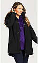 Plus Size Softshell Jacket With Detachable Hood - black