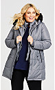 Plus Size Faux Down Vestie Puffer - gray