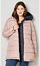 Plus Size Zipper Side Puffer Jacket