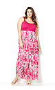 Pink Crochet Yoke Maxi Dress