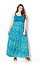 Blue Crochet Yoke Maxi Dress