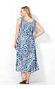 Blue Animal Pleat Dress