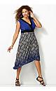 Blue Print Asymmetrical Dress