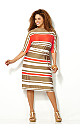 Elbow Sleeve Striped Sheath Dress