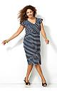 Cap Sleeve Scallop Striped Dress