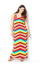 Watermelon Bright Chevron Maxi Dress