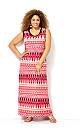 Coral Aztec Maxi Dress