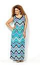 Turquoise Abstract Chevron Maxi Dress