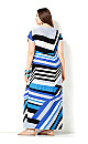 Short Sleeve Mixed Stripe Maxi Dress