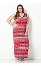 Bright Wave Print Maxi Dress