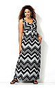 Graphic Chevron Knot Front Maxi Dress