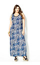 Blue Burst Maxi Dress