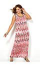 Pink Chevron Maxi Dress